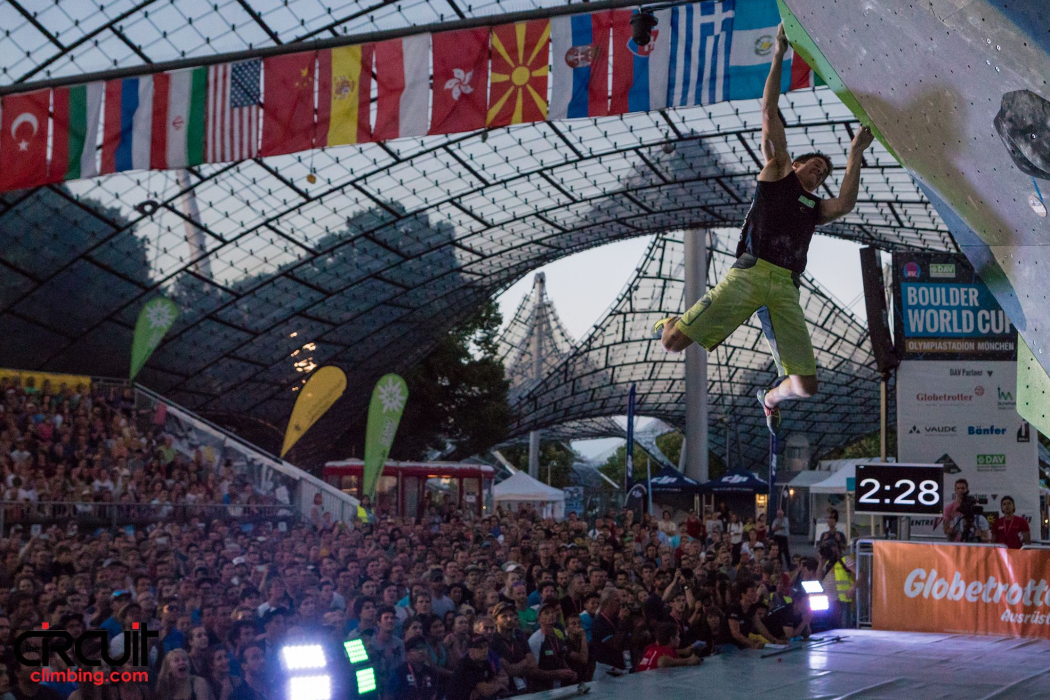 David finished 4th in the Boulder World Cup in Munich this year (c) Eddie Fowke