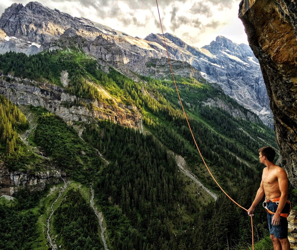 """Ruben after the flash of """"Trümmelbach"""" (8b+) in beautiful Gimmelwald in the Swiss Alps"""