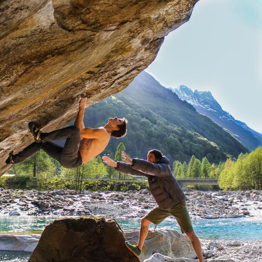 David and Ruben bouldering in Brione in the Verzasca valley of Ticino in Switzerland