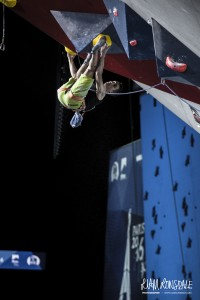 David on a technical roof sequence in the semi-final route of the World Champs in Paris 2016 (c) Liam Lonsdale