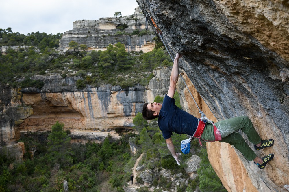 "David shaking out his arms before he attacks the redpoint crux of ""La Rambla"" (c) Iuliia Leonova"